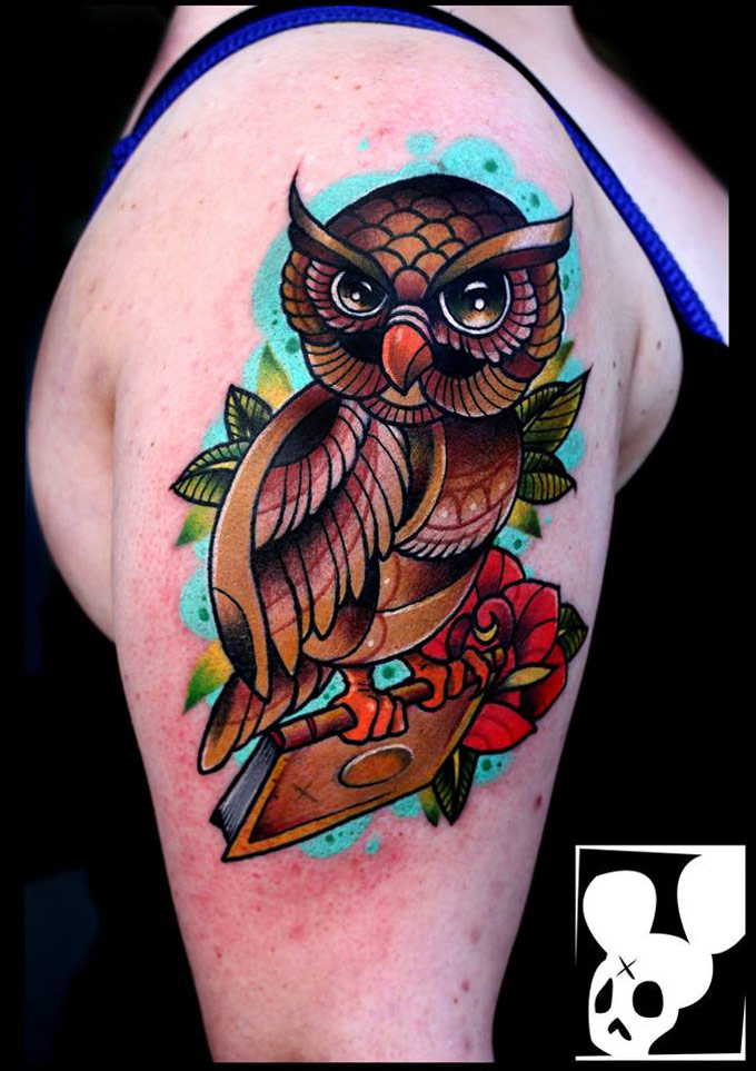 Colorful Owl Arm Tattoo