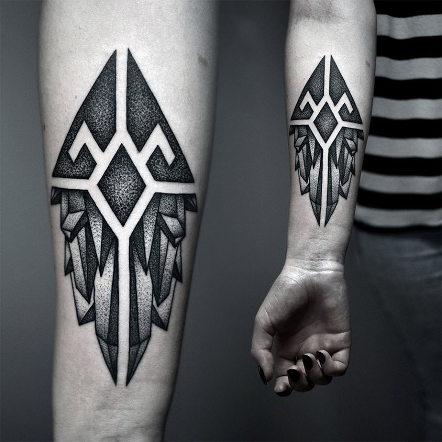 Forearm Crystals Tattoo