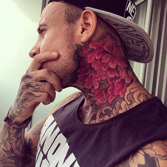 neck tattoo floral tattoos flowers sleeve flower throat designs side rose piece amazing guys tattooed tattooideas247 colored ink fantastic attractive