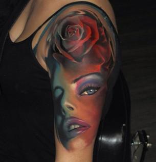 Amazing Girls Face Tattoo