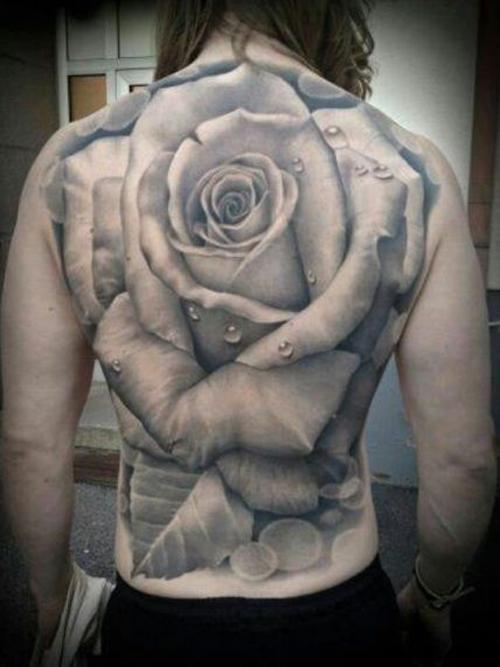 Rose Full Back Tattoo