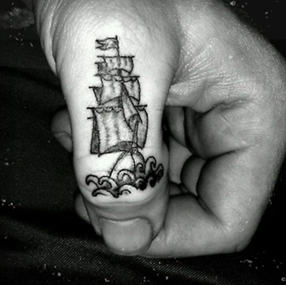 Sailing Ship Thumb Tattoo