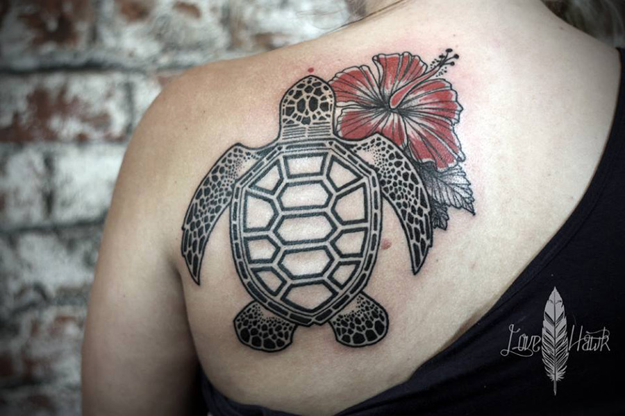 4e600dafc0f14 Sea Turtle Hibiscus Tattoo Best Tattoo Design Ideas