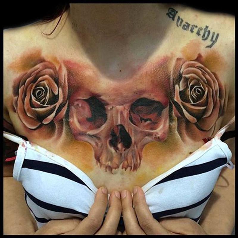 Skull & Roses Chest Tattoo