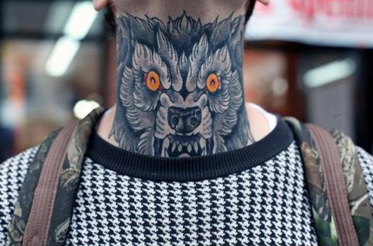 Wolf Neck Tattoo