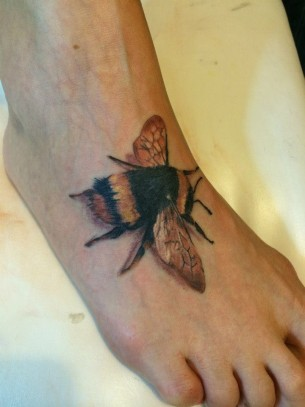 Bumblebee Foot Tattoo