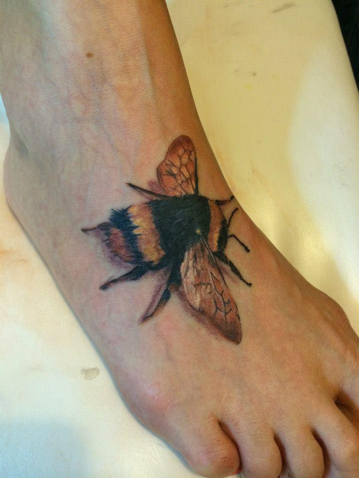 Bumblebee Foot Tattoo