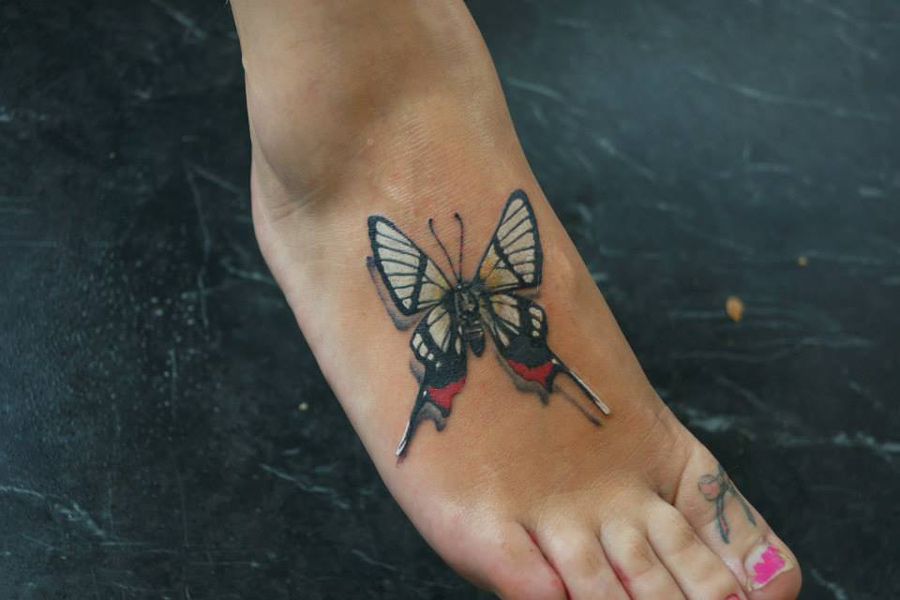 3D Butterfly Foot Tattoo