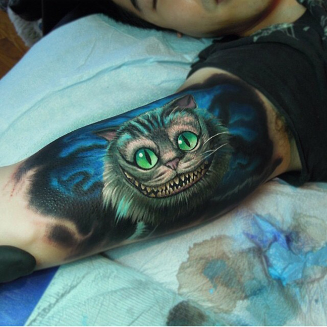 cheshire cat tattoo best tattoo design ideas. Black Bedroom Furniture Sets. Home Design Ideas