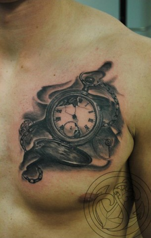 Cracked Pocket Watch Tattoo