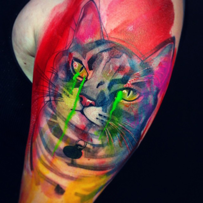 Crying Kitty Tattoo