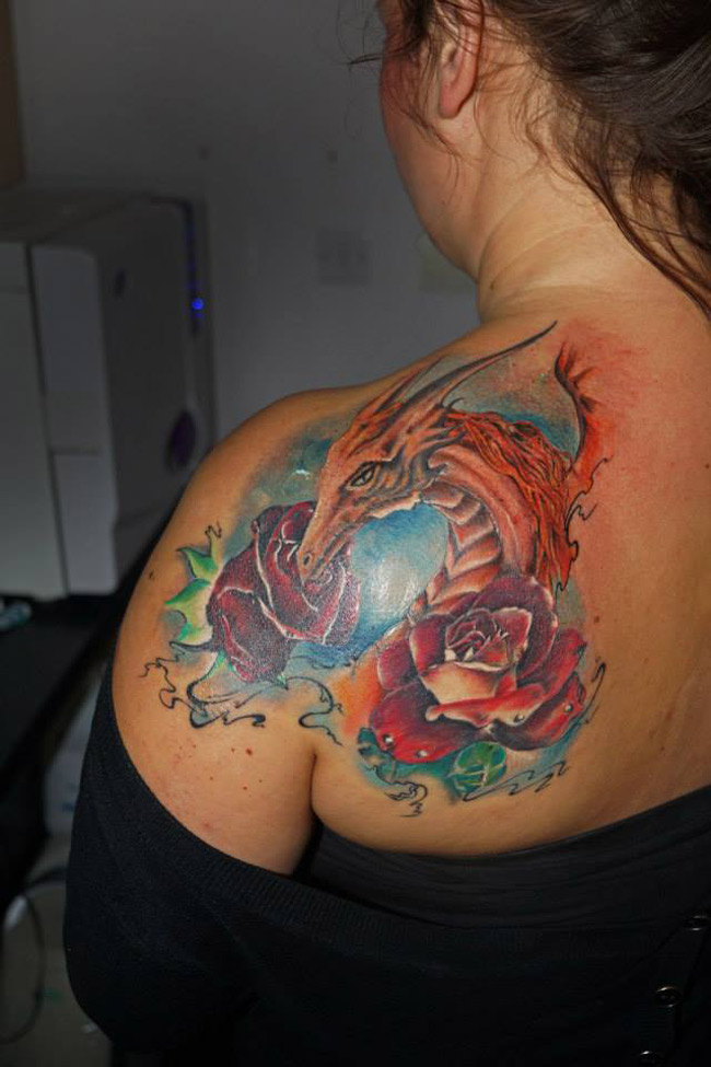 Dragon & Roses Tattoo
