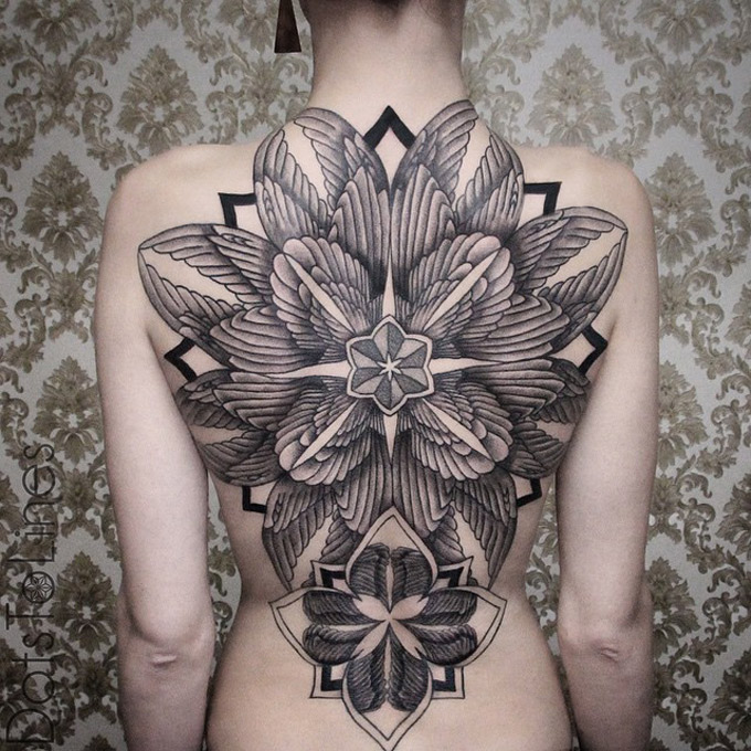 Feathers Back Tattoo