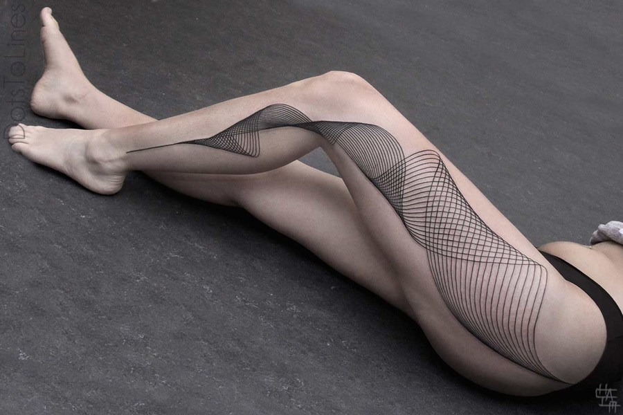 Girls Leg Geometric Lines Tattoo