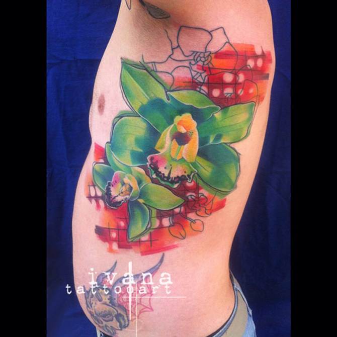 Green Orchids Side Tattoo