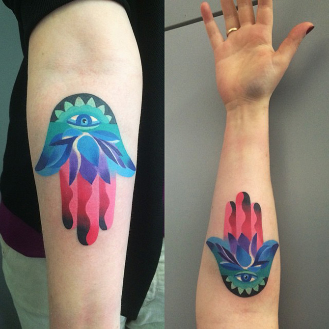 Colorful Hamsa Tattoo