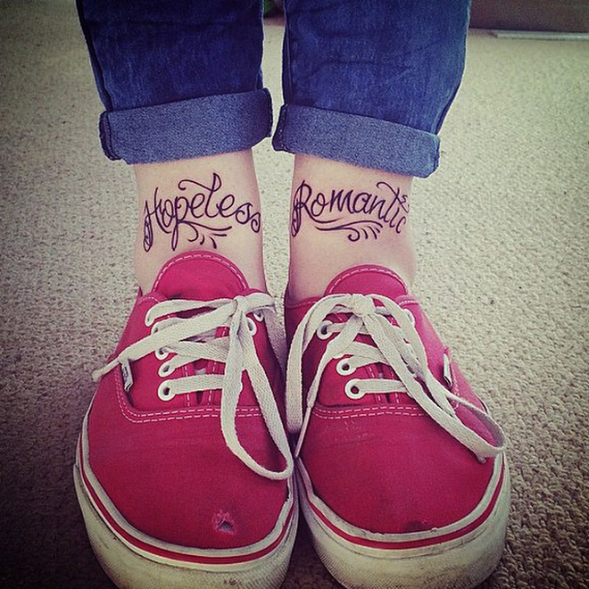 Hopeless Romantic Ankle Tattoos