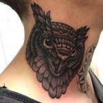 Owl Neck Tattoo