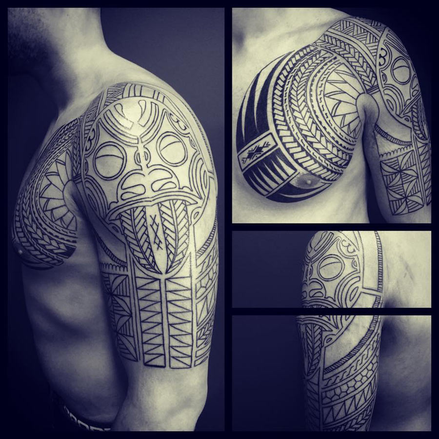 Chest & Sleeve Tribal Tattoo