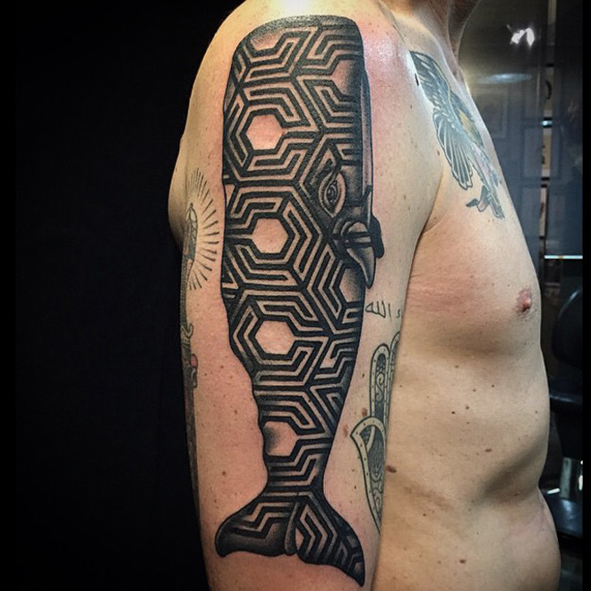 Tattoo sperm from behind