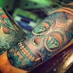 Sugar Skull with Diamond Eyes Tattoo