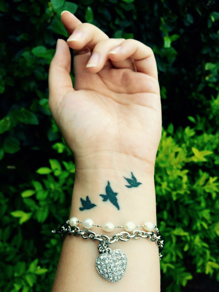Three Little Birds Wrist Tattoo