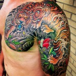 Tiger & Lotus Flower Chest & Sleeve