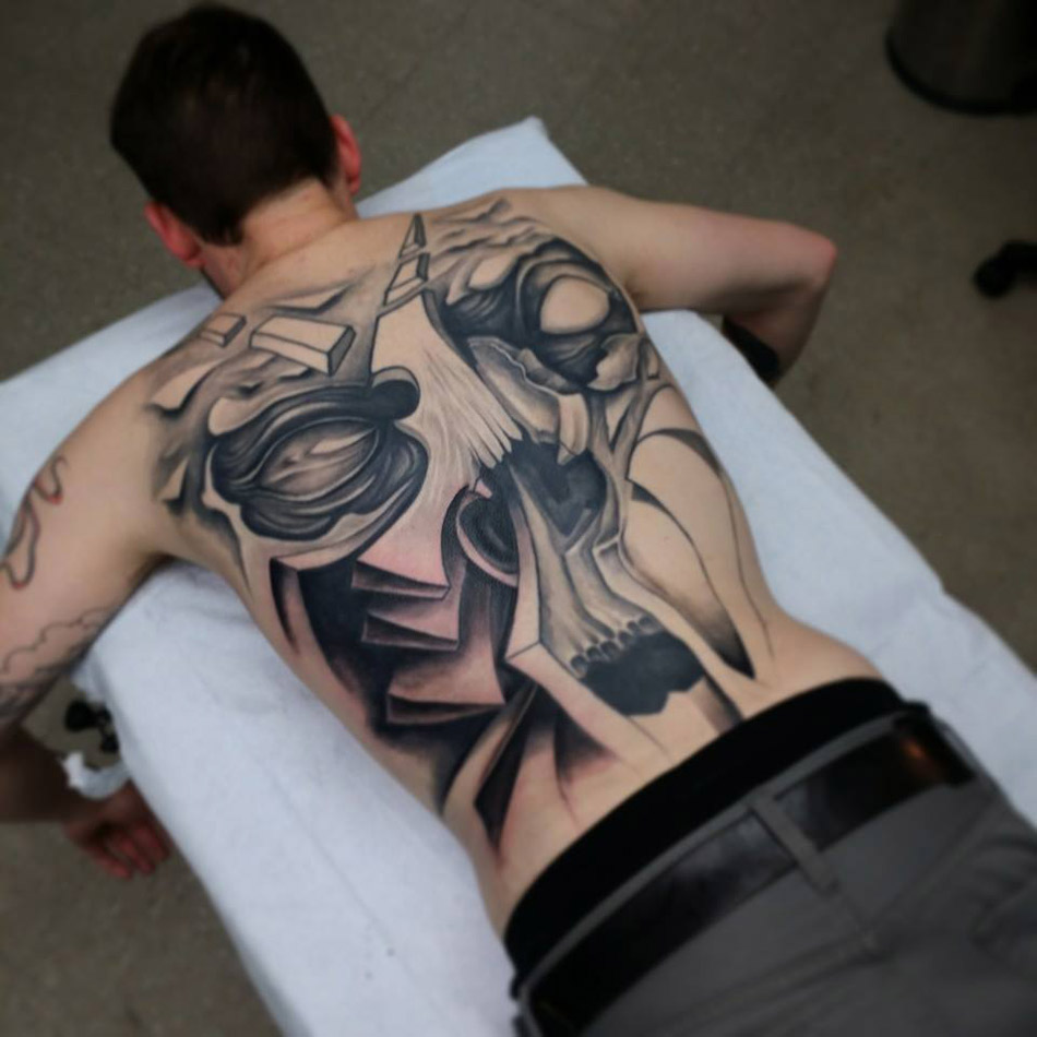 3D Skull Back Tattoo