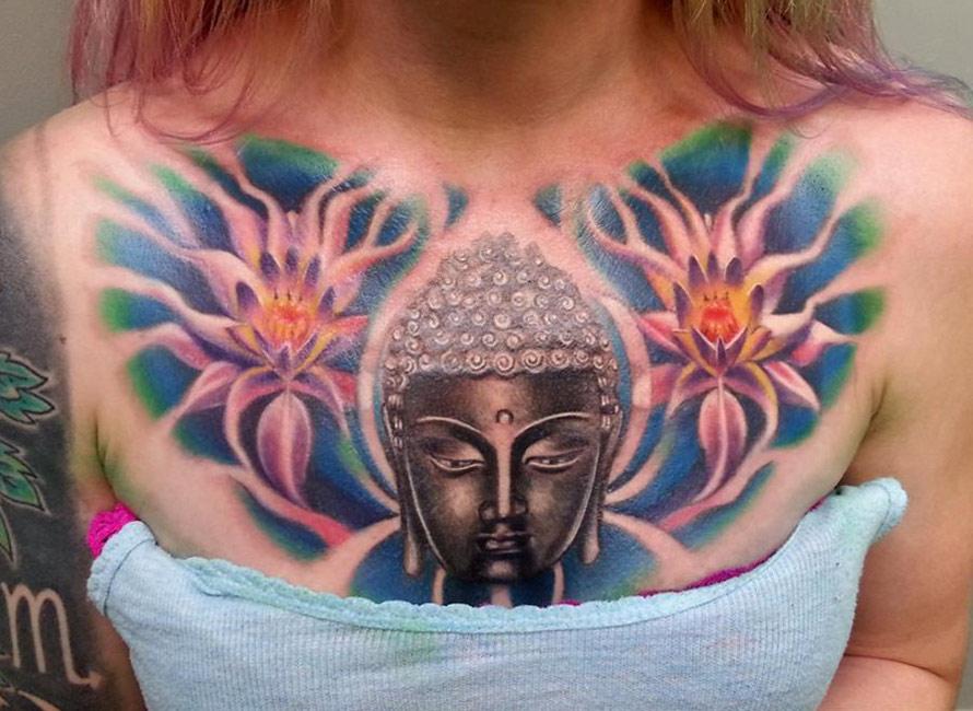 Buddha and Lotus Flowers Chest Tattoo
