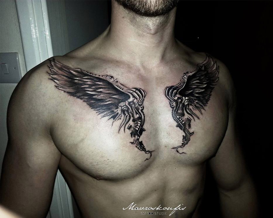 Wings Chest Tattoo
