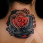 Dark Rose Neck Tattoo