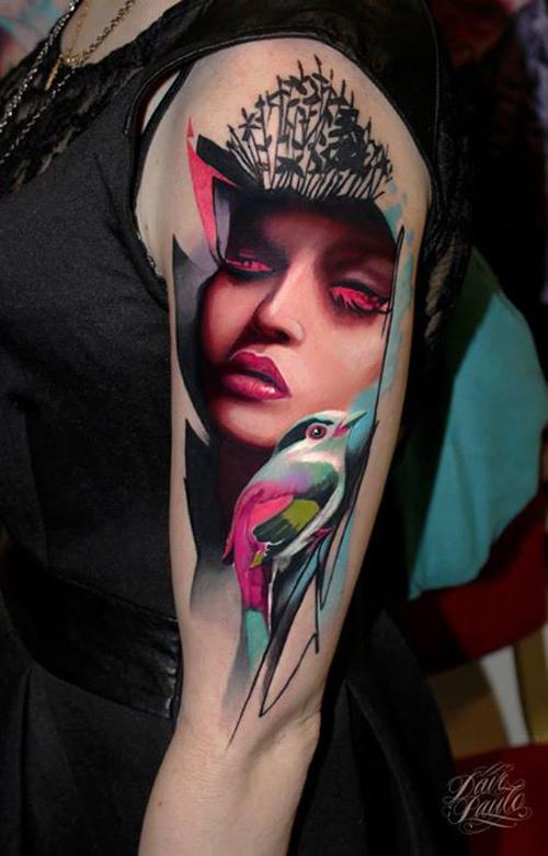 Abstract Portrait & Bird Tattoo