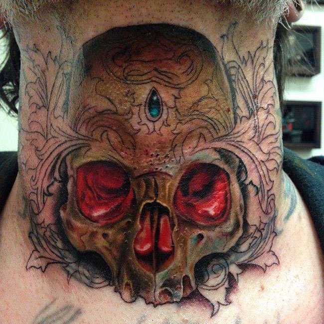Glowing Skull Neck Tattoo