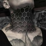 Honeycomb Neck Tattoo