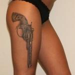 Revolver Leg Tattoo