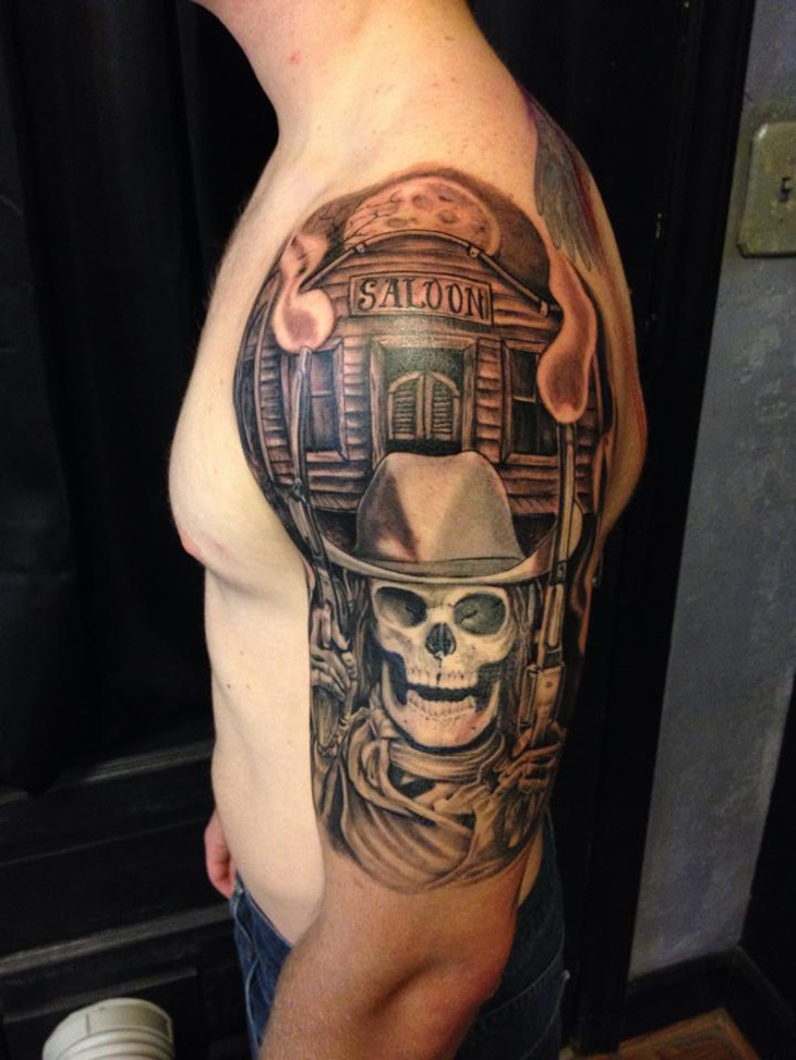 Saloon Skeleton Cowboy Sleeve