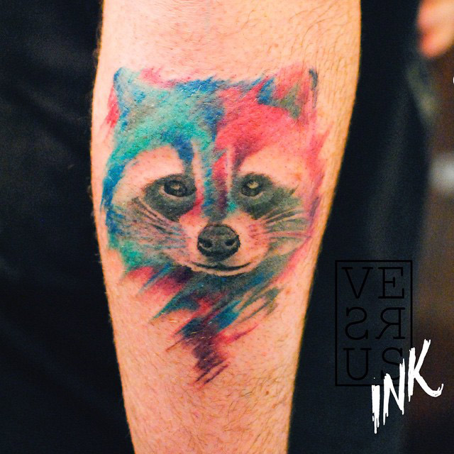 Watercolor Raccoon Tattoo