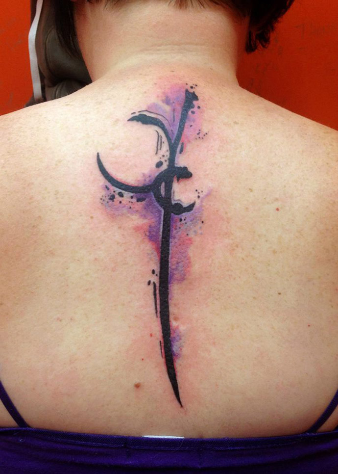 Abstract Watercolor Back Tattoo