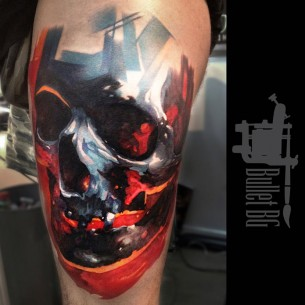 Colored Skull Tattoo