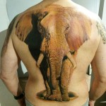 Realistic Elephant Back Tattoo