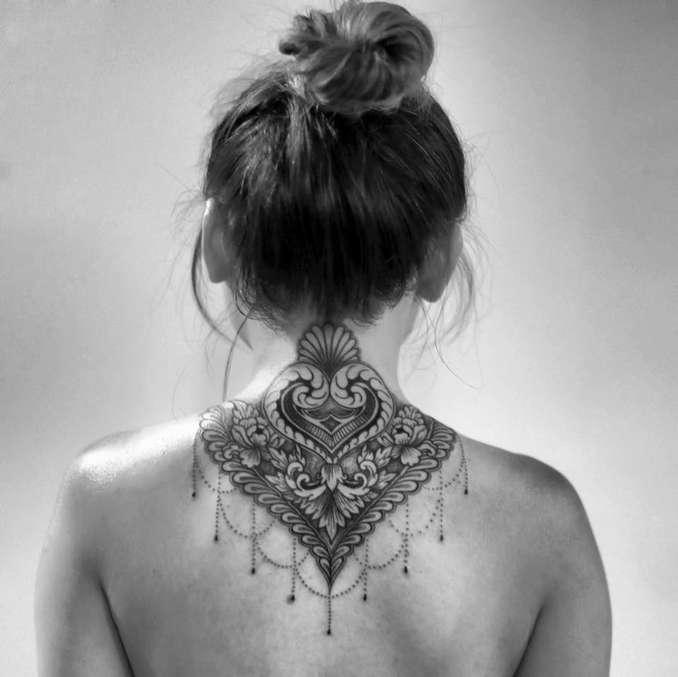 Gorgeous Floral Neck Tattoo