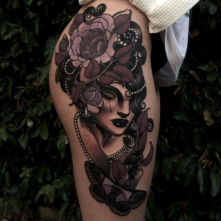 Chic Hip & Thigh Tattoo