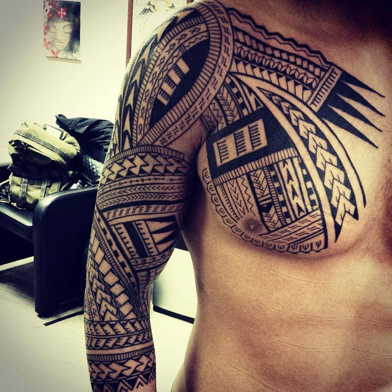 Polynesian Tribal Chest & Sleeve