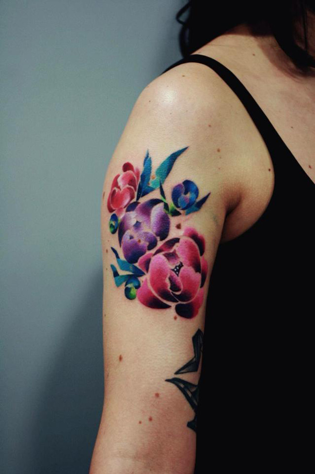 Colorful Flowers Arm Tattoo