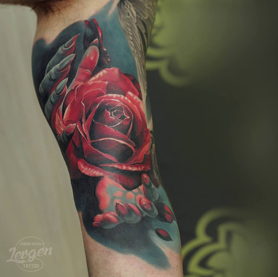 Hands Red Rose Best Tattoo Design Ideas