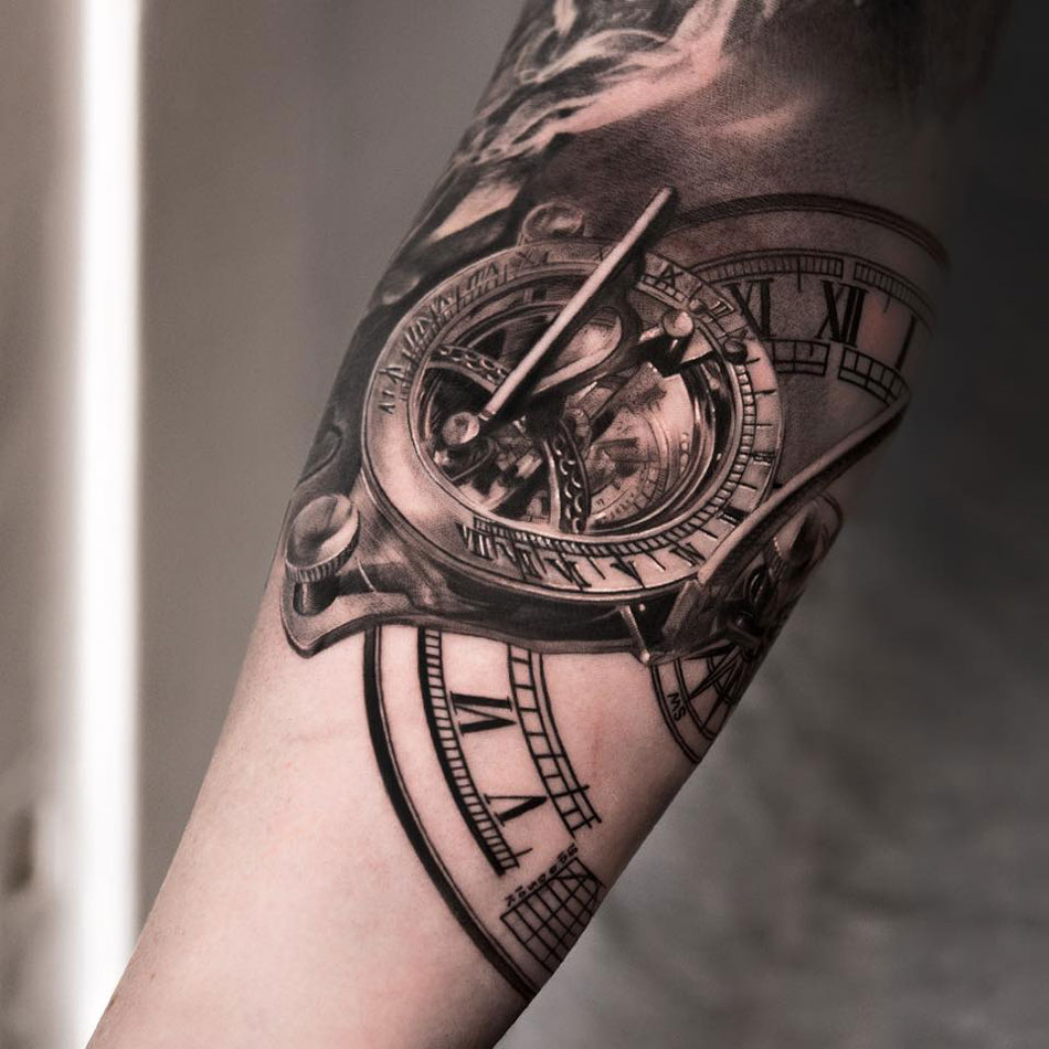 Sundial & Clock Tattoo