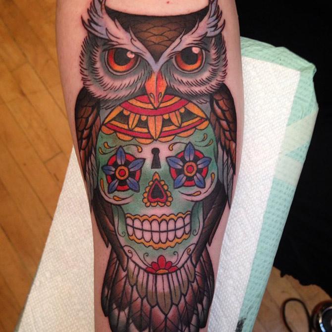 Owl sugar skull best tattoo design ideas for Owl with sugar skull tattoo