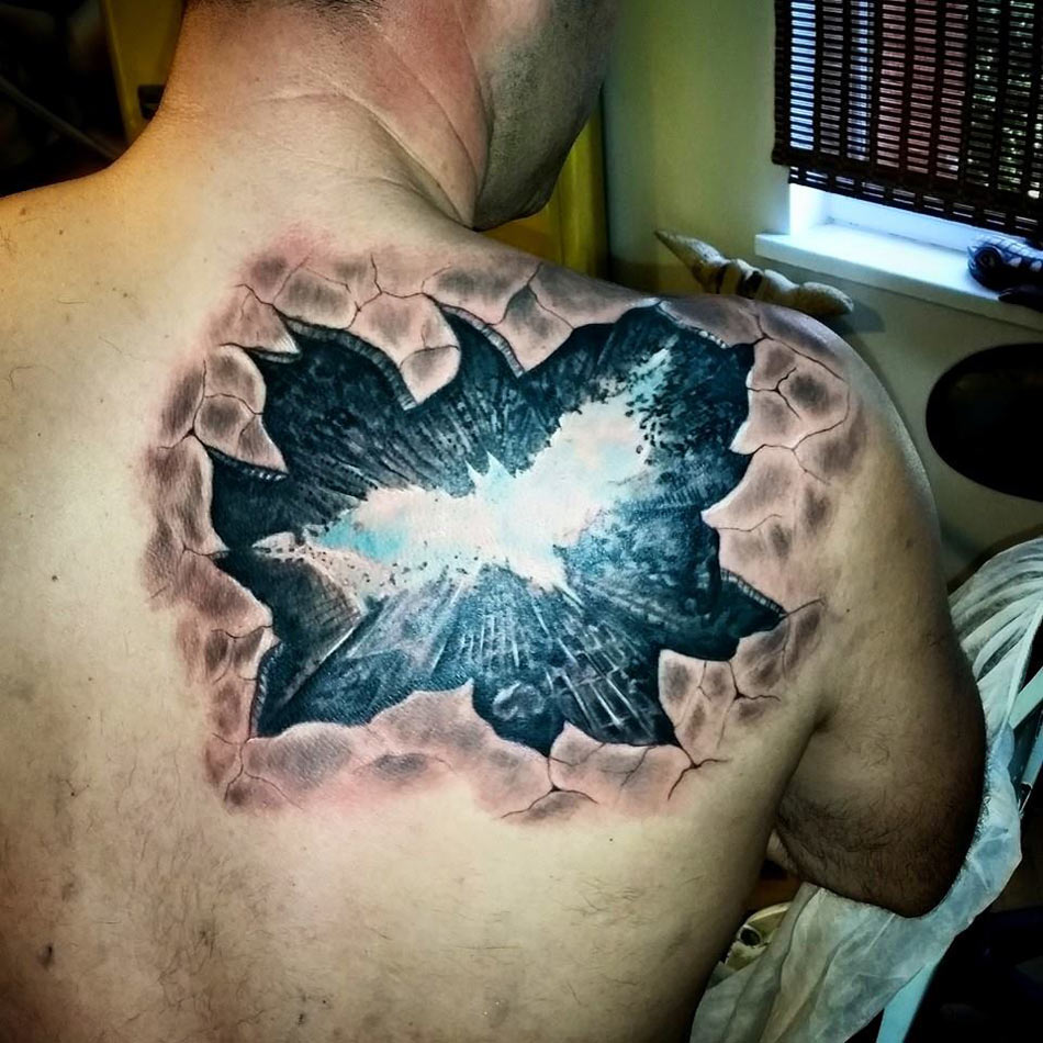 3D Batman Gotham City Tattoo