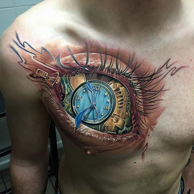 Eye And Multiple Clock Tattoo: Eye & Clock Chest Tattoo