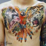Animals Chest Tattoo